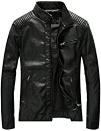 Leather Jacket Men Black Slim Fit Motorcyle Lightweight