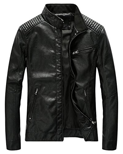 Fairylinks Leather Jacket Men Slim Fit Motorcyle Lightweight ,Black,X-Large