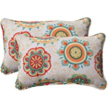 Pillow Perfect Indoor/Outdoor Fairington Corded Rectangular Throw Pillow, Aqua, Set of 2
