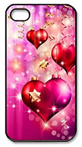 Apple iphone 4/4S Cases Pink Christmas Love Hearts Polycarbonate Plastic Shell Case Cover for iPhone 4S/4 - Black