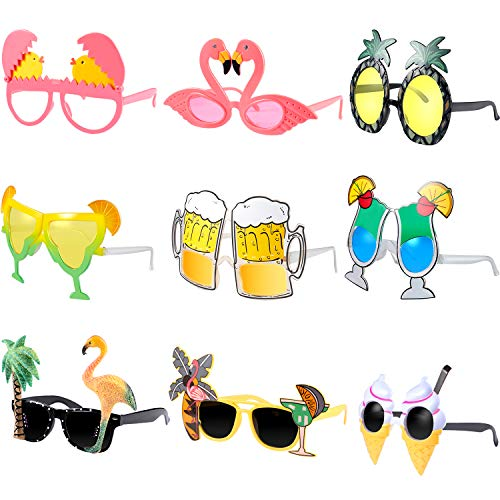 Hsei 9 Pieces Hawaiian Theme Sunglasses Funny Costume Sunglasses Tropical Luau Summer Party Sunglasses for Beach Fancy Dress Party Accessories (Sunglasses Novelty Cocktail)