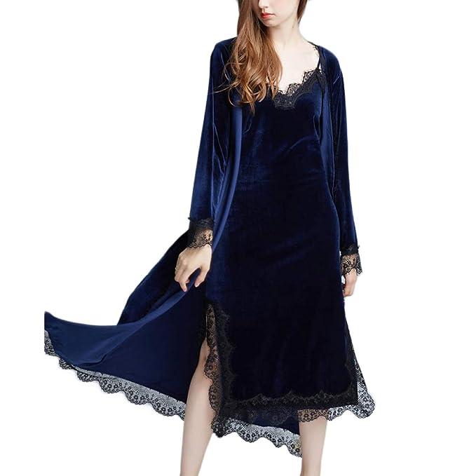 Bata De Terciopelo para Mujer Otoño Invierno Largo Lujo Lujoso Bata Pijamas Boda Nupcial Albornoz (Excluyendo Falda De Liga): Amazon.es: Ropa y accesorios