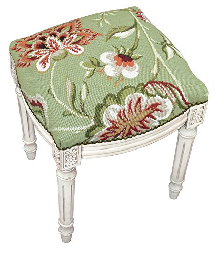 (Kensington Row Home Collection - Accent Stools - Waverly Manor Needlepoint Upholstered Stool - Vanity Seat - Green)