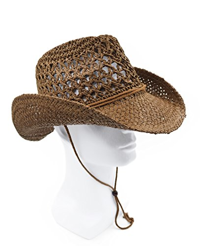 Melesh Adult Sun Straw Western Cowboy Hat (Coffee)