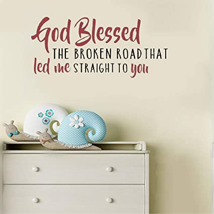 Amazoncom Perlk Removable Vinyl Mural Decal Quotes Art God Blessed