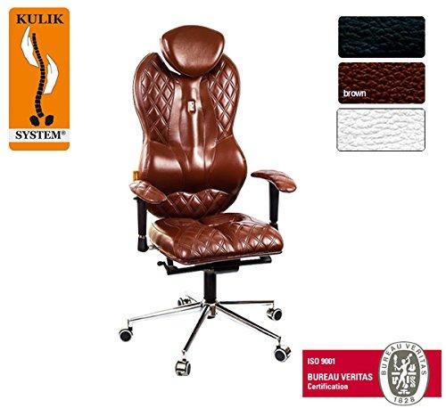 Kulik System© GRAND Luxury Italian Höchste Qualität Ergonomic Büro / Hause Computer Schreibtisch Lehnstühle Stühle Sessel (Braun)