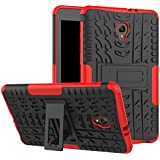 Tab A 8.0 T380 Case DWaybox Hybrid Rugged Heavy Duty Hard Back Case Cover with Kickstand for Samsung Galaxy Tab A 8.0 2017 SM-T380/T385 / Samsung Tab A2 S 2017 (Red)
