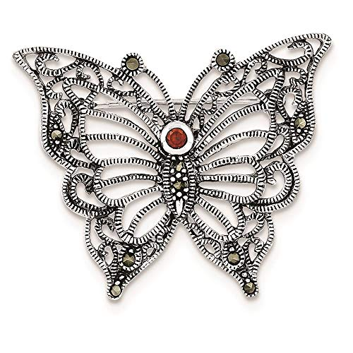 Sterling Silver Marcasite Red CZ Butterfly Pin Brooch