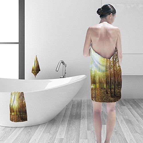 Nalahomeqq Bath towel set pine forest trees nature green wood sunlight backgrounds 3D Digital Printing No Chemical OdorEco-Friendly Non Toxic13.8 x 13.8-11.8