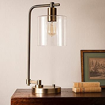 Hudson Industrial Table Lamp   Antique Brass   Threshold