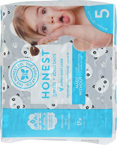 The Honest Company - Eco-Friendly and Premium Disposable Diapers - Pandas, Size 5 (27+ lbs), 20 Count