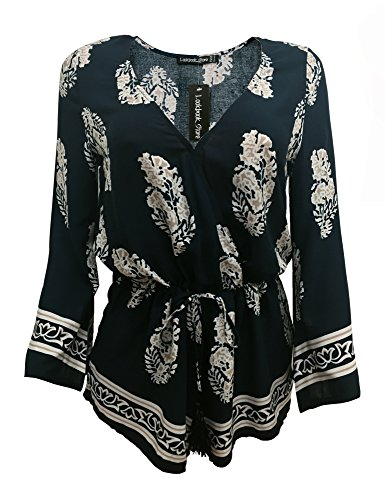 LookbookStore Women's Vintage Printed Trumpet Sleeve Short Jumpsuit Surplice US 4