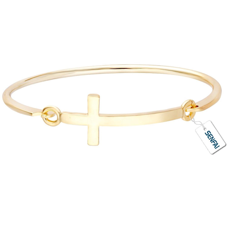 SENFAI SENTAI Simple Cross Bangle Bracelet Good for Small Wrist Less Than 6 cm in Diameter