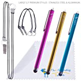 Bundle of Three 5.3″ Premium Stylus Pens + 4 Lanyards/Strings + Cleaning Cloth in Retail Packaging (Gold, Aqua Blue, Hot Pink)