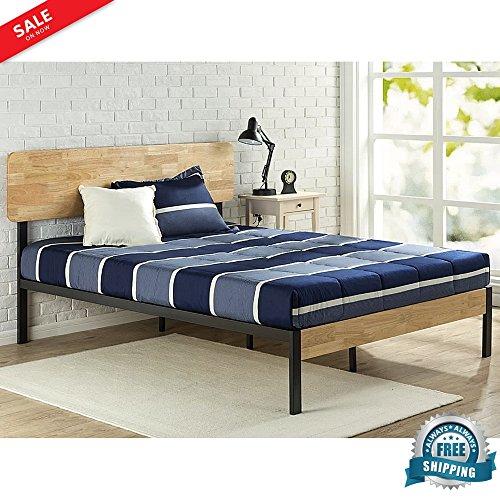 Comfy Modern Platform Bed - Modern Platform Bed Frame Queen Mattress Size Bedroom Steel Bed Frame with Wood Slats Support Comfy & Sturdy Simple Minimal Design Comfortable Restful Sleep & eBook by BADA shop