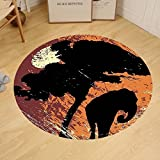 Gzhihine Custom round floor mat Elephant Africa Theme A Tree and an Elephant under Sunshine Print Bedroom Living Room Dorm Black and Marigold