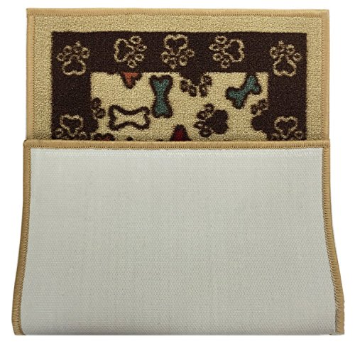 "Pet Collection Bones and Paws Mat Doormat Beige Multi Color Slip Skid Resistant Rubber Backing (Beige, 17"" x 30"" Mat)"