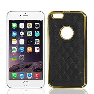 Cuero de imitación de metal cubierta trasera del caso del protector para Apple iPhone Negro 6