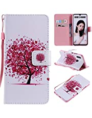Miagon Full Body Case for Huawei P Smart 2019,Colorful Pattern Design PU Leather Flip Wallet Case Cover with Magnetic Closure Stand Card Slot,Red Tree