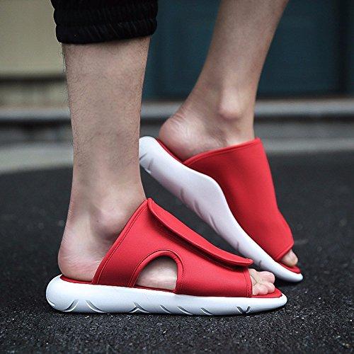 Sandalen Sommer Atmungsaktiv Männer Sandalen Flip Flops Rutschfest Strand Schuh Trend Sandalen ,rot,US=9,UK=8.5,EU=42 2/3,CN=44