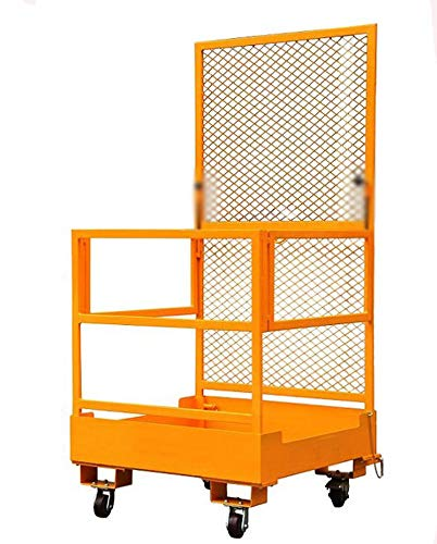 39.37''39.37'' Forklift Safety Cage Work Platform Lift Basket Aerial Fence Rails Yellow 2 -