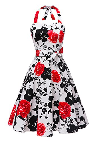 Black Polka Flower (Topdress Women'sVintage Polka Audrey Dress 1950s Halter Retro Cocktail Dress Black Red Flower L)