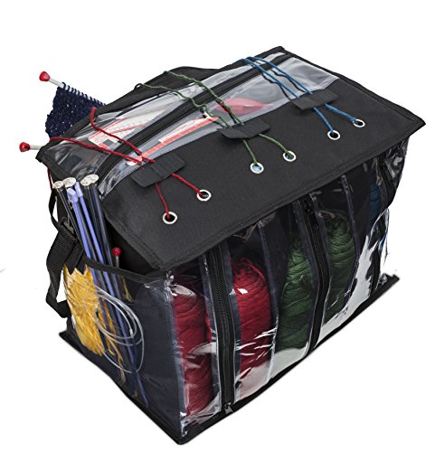 Knitting Organizer By Besti: Portable Knitting Yarn Storage Bag With Multiple Pockets, Individual Compartments And Carrying Shoulder Strap – Clear Plastic Tote Bag For Needles, Crochets And Threads (Yarn Bag)