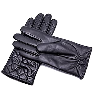 "YISEVEN Women's Touchscreen Lambskin Leather Gloves Bow Hand Warm Fleece Fur Lined Real Luxury for Ladies Winter Cell Phone iPad Accessories Dress Driving Elegant Cute Xmas Gifts, Black 6.5""/Small"