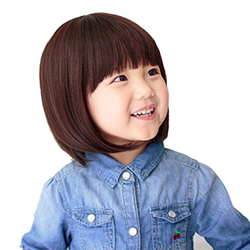 YYTA Short/Long Curly Wave Cosplay Wig Hair Adjustable Costume Synthetic Heat Resistant for 5-10 Years Children Girl (Brown Short Bobo(0-5T))