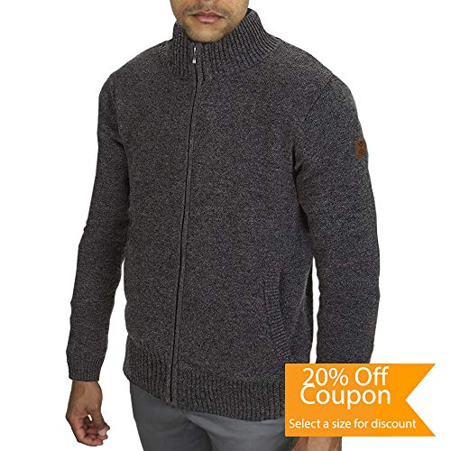 - TEFANESO Men's Wool Cardigan Men's Fleece Cardigan. Pure Wool with Fleece Sweater. Knitted Fleece-Lined Cardigan Sweater Jacket with Full Zipper. (Grey, L)