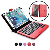 COOPER INFINITE EXECUTIVE Keyboard case compatible with Allview City Life, City+, Speed City | 2-in-1 Bluetooth Wireless Keyboard & Leather Folio Cover | 100HR Battery, 14 Hotkeys (Red)