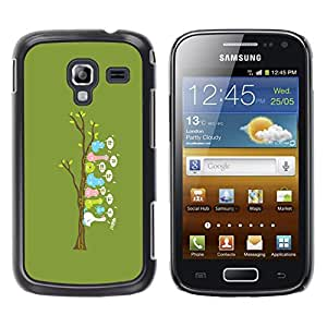 EJOY---Cubierta de la caja de protección la piel dura para el / Samsung Galaxy Ace 2 / --Lindo árbol Pájaro divertido