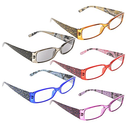 ee277a655705 READING GLASSES 5 pack Tiger Patterned Temples Include Sunshine Readers