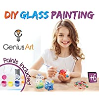 Genius Art DIY Glass Painting - Arts and Crafts Kit for Girls and Boys - Stocking Stuffers for Kids