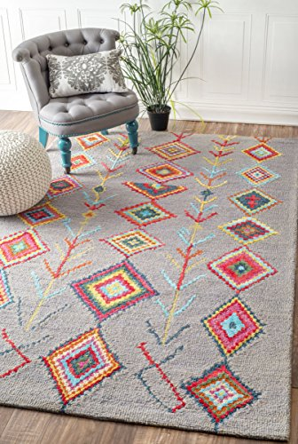 """UPC 841388129491, Contemporary Hand Tufted Wool Moroccan Triangle Runner Area Rugs (8' 6"""" x 11' 6"""", Grey)"""