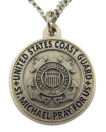 Silver Toned Base Saint Michael Pray for Us Armed Forces Medal, 7/8 Inch (Coast (Coast Guard Medal)