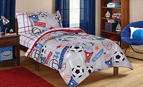 Cute and Soft Mainstays Kids Play Ball Bed in Bag Bedding Set,With Sports Graphic Soccer,Baseball,Football and Basketball,Gray,Red,White,and Blue,Great Addition to Your Future Sports Star's Room,Twin by Generic