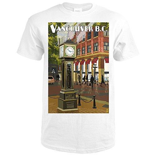 Vancouver, BC, Canada - Steam Clock (Premium White T-Shirt - Shops Gastown