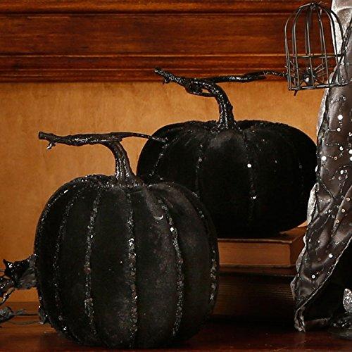 RAZ Imports Halloween Decor - Black Sequin Pumpkins 2pc Set -
