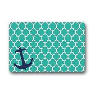 """Antideslizante Rectángulo azul marroquí Tile Quatrefoil con Anchor diseño Interior y Exterior entrada alfombra Felpudo–23.6""""(L) X 15,7(W), 3/16"""" de grosor"""
