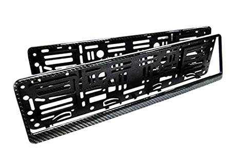 2 soportes para matrícula de coche de fibra de carbono en 3D, color negro: Amazon.es: Coche y moto