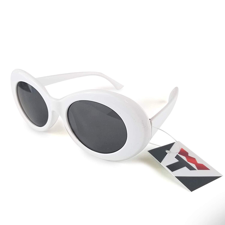 Amazon.com: Gafas de Clout Blancas. Marco ovalado grueso ...