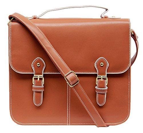 New Designer Satchel Bag Womens Leather Style Shoulder School Work Bag (Tan)