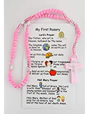 McVan Kids Pink Wooden Rosary with Prayer Card