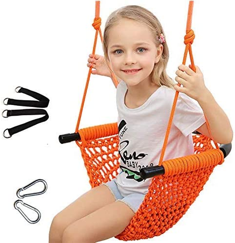 Uquer Swing Seat For Kids Heavy Duty Rope Play Secure Children Swing Set Perfect For Indoor Outdoor Playground Home Tree With Snap Hooks And Swing Straps 200kg 440lbs Capacity Orange Home Kitchen