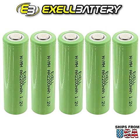 5x Exell 1.2V AA 2200mAh Rechargeable NIMH Flat Top Batteries for use with cameras, camcorders, mobile phones, pagers, medical instruments/equipment, high power static applications FAST USA - 2,200 Mah Nimh Battery