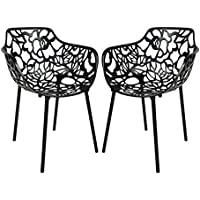 LeisureMod Modern Devon Aluminum Chair with Arm, Black, Set of 2