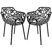 LeisureMod Modern Devon Aluminum Chair with Arm, Black, Set of 2