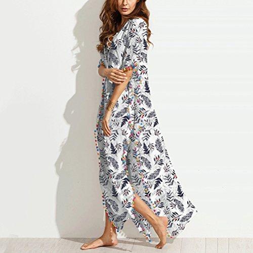 Zhuhaitf Robes Maxi Casual Manches Longues Couvrir Maillots De Bain Imprimé Plage Bikini Robe Beachwear Pour Les Femmes Blanches D'été