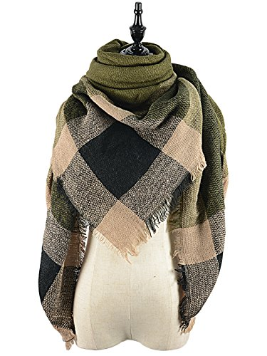Country Plaid Tessel Scarf Series Wrap Shawl Oversized Picnic Mat Fall Winter Warm Soft Cape Green Brown (Blanket Throw Series Fleece)